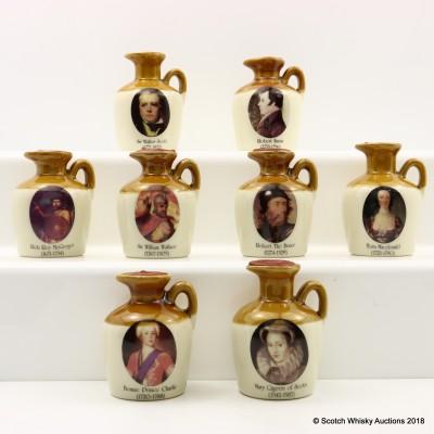 Glen Fiona Ceramic Decanter Minis 8 x 5cl including Bonnie Prince Charlie Mini 5cl