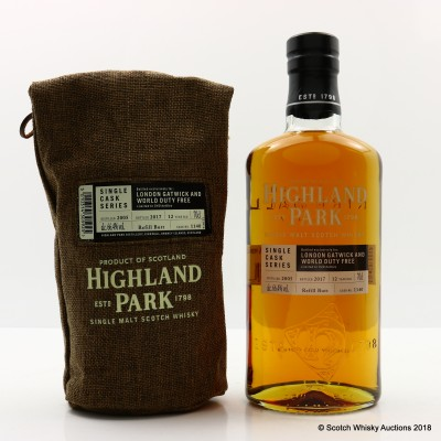 Highland Park 2005 12 Year Old Single Cask #1140 For London Gatwick & World Duty Free