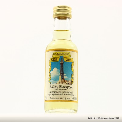 Tomintoul 18 Year Old For UK Mini Bottle Club AGM 1991 Blackpool 5cl