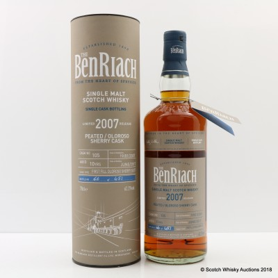 BenRiach 2007 10 Year Old Peated Sherry Cask #105