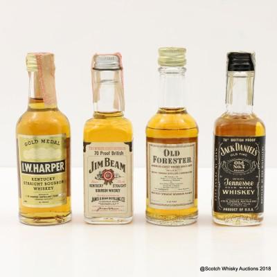 Assorted Bourbon Minis 4 x 5cl Including I.W. Harper Gold Medal