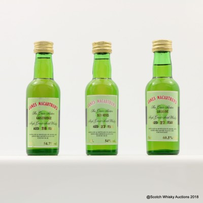 Assorted James MacArthur's Minis 3 x 5cl Including Lochside 27 Year Old
