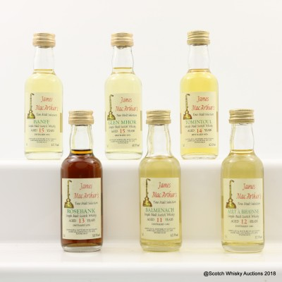 Assorted James MacArthur's Minis 6 x 5cl Including Rosebank 1978 13 Year Old