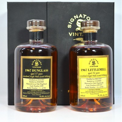 Littlemill 1967 36 Year Old 50cl & Dunglass 1967 37 Year Old 50cl Signatory Rare Reserve Set