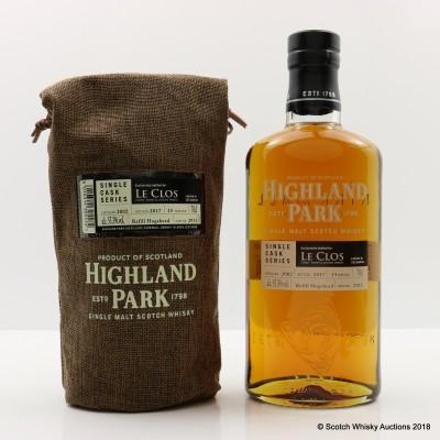Highland Park 2002 15 Year Old Single Cask #2911 for Le Clos