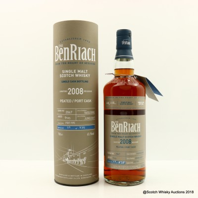 BenRiach 2008 9 Year Old Peated Port Cask #2047
