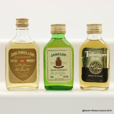 Assorted Irish Whiskey Minis 2 x 50cl & 1 x 1 2/3 FL OZ Including Tullamore Dew