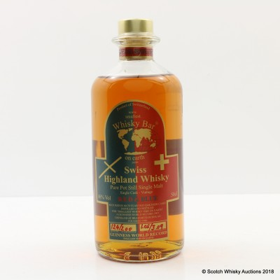 Swiss Highland Whisky Red & Blue Single Cask For Smallest Whisky Bar On Earth 50cl