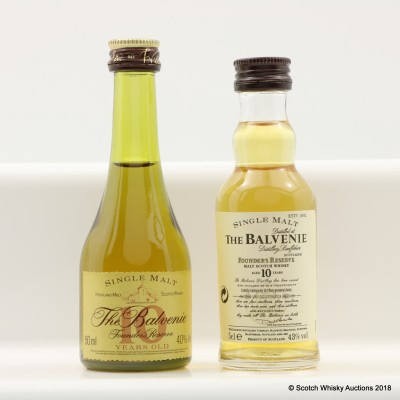 Balvenie 10 Year Old Founder's Reserve Mini 5cl & Balvenie 10 Year Old Founder's Reserve Cognac Bottle Mini 5cl