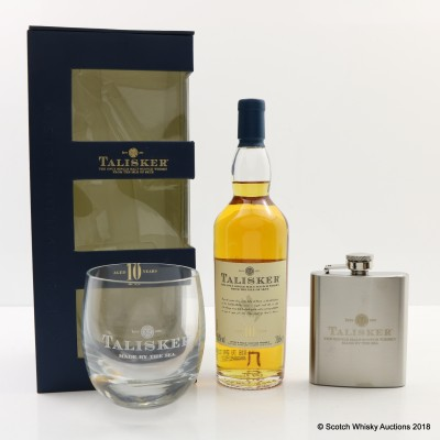 Talisker 10 Year Old 20cl With Glass & Hip Flask Set