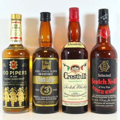 100 Pipers, Scotch Castle Over 3 Year Old, Cresthill Superior Blended, Scotch No 10