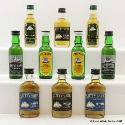 Assorted Cutty Sark Minis 10 x 5cl Including 18 Year Old
