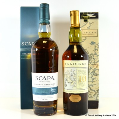 Talisker 10 Year Old Map Label & Scapa 16 Year Old