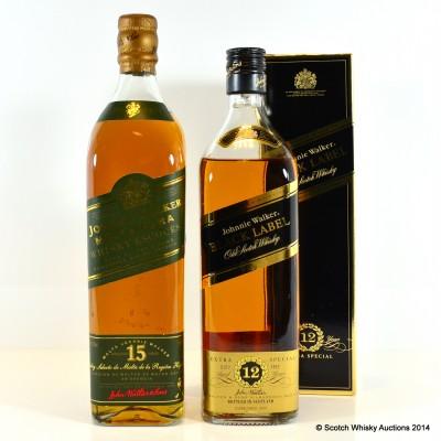 Johnnie Walker Green Label 15 Year Old & Johnnie Walker Black Label 12 Year Old 75cl