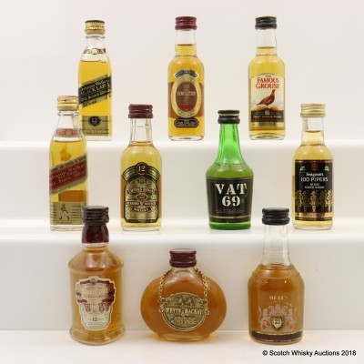 Assorted Minis 10 x 5cl Including Bell's 21 Year Old