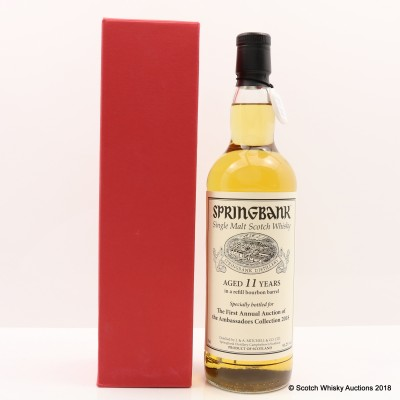 Springbank 11 Year Old for First Annual Auction of the Ambassadors Collection 2018 with Cadenhead's Warehouse Tasting Voucher