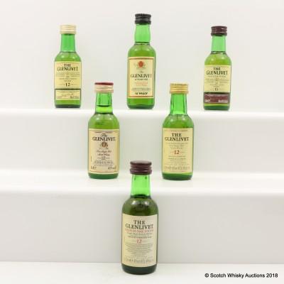 Assorted Glenlivet Minis 6 x 5cl Including Glenlivet 12 Year Old French Oak Finish