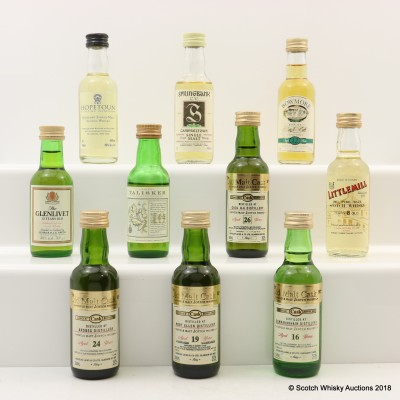 Assorted Minis 10 x 5cl Including Port Ellen 19 Year Old Old Malt Cask