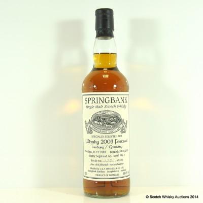 Springbank 1989 Limburg Whisky Festival 2003 £70 Reserve