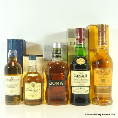 Talisker 10 Year Old 20cl, Dalwhinnie 15 Year Old 20cl, Glenlivet 12 Year Old 35cl, Jura Origin 35cl & Glenmorangie Original 10 Year Old 35cl