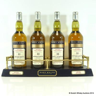 Rare Malts Collection; Benrinnes 1974, Mannochmore 1974, Royal Lochnagar 1973, Dufftown-Glenlivet 1975, Rare Malts Stand & Booklet £700 Reserve