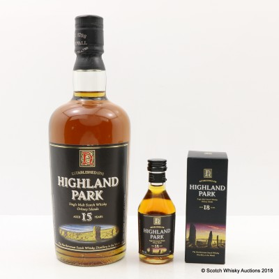 Highland Park 15 Year Old Old Style & Highland Park 18 Year Old Mini 5cl