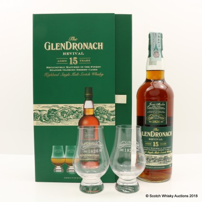 GlenDronach 15 Year Old Revival Old Style & Glasses Set