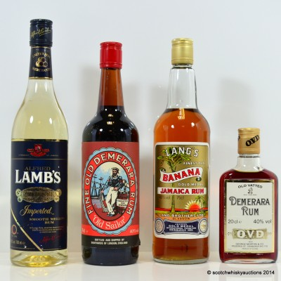 Assorted Rums x 4 Including Lang's Banana Rum