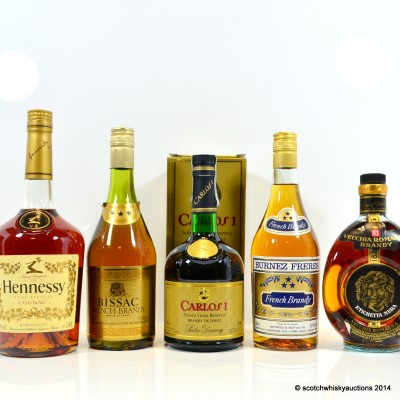 Assorted Brandy & Cognac x 5 Including Vecchia Romagna