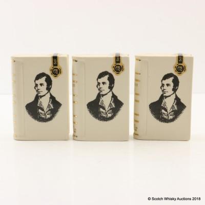 Rutherford's Ceramics Spirit of Burns Mini Book Decanters 3 x 5cl