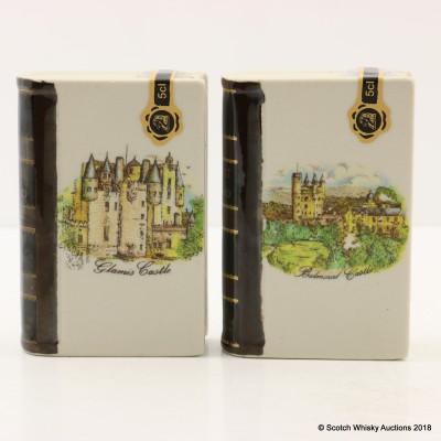 Rutherford's Ceramics Spirit of Scotland Castles Mini Book Decanters 2 x 5cl