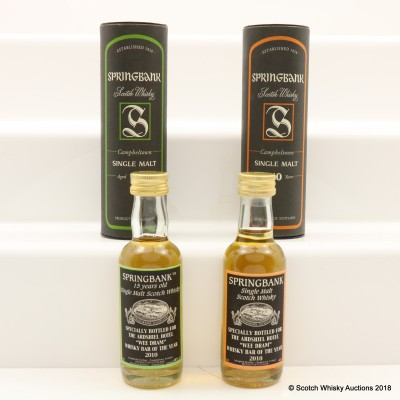 Springbank 10 & 15 Year Old for Ardshiel Hotel Minis 2 x 5cl
