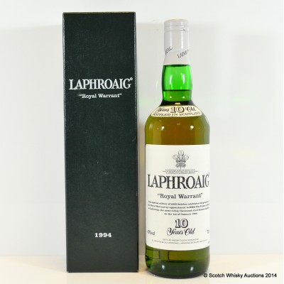 Laphroaig Royal Warrant 1994 10 Year Old With Letter