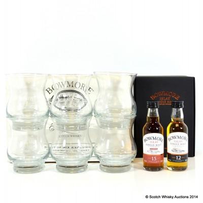 Bowmore Minis Set 2 x 5cl & Bowmore Glasses x 6