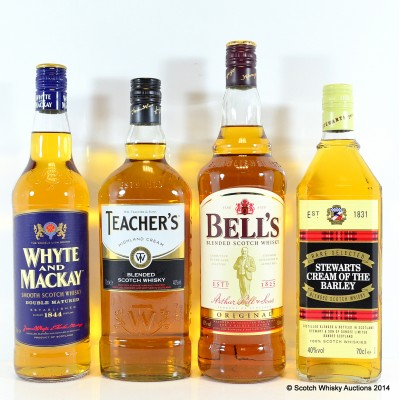 Assorted Blended Whiskies x 4 Including Bell's 1L