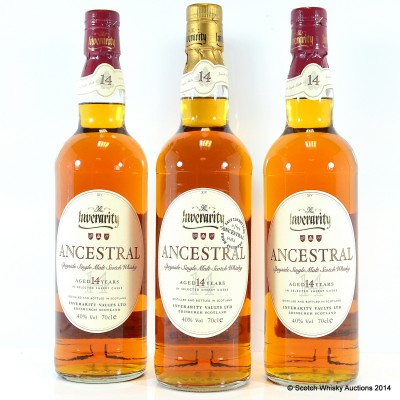 Ancestral 14 Year Old x 2 & Aultmore 14 Year Old Inverarity Ancestral