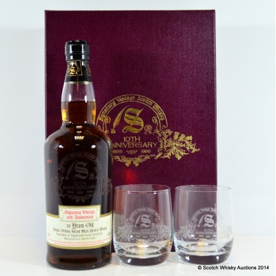 Highland Park 10 Year Old Signatory 10th Anniversary With 2 Glasses