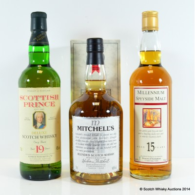 Mitchell's Blended Scotch Whisky, Scottish Prince Deluxe 10 Year Old & Millennium Speyside Malt 15 Year Old