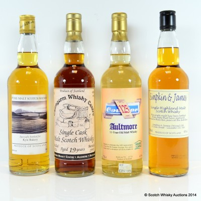 Aultmore Celebrating 125th Anniversary Of Kent & Sussex Courier 11 Year Old, Simpkin & James Highland Malt 10 Year Old, Kyle Bakery Pure Malt & Cairngorm Whisky Centre Single Malt 1976 19 Year Old