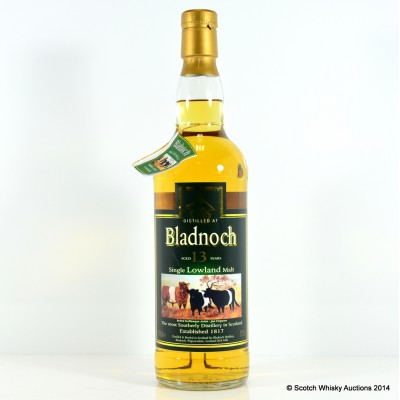 Bladnoch 13 Year Old Belted Galloway Label