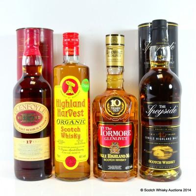 Highland Harvest Organic Whisky, Tormore-Glenlivet 10 Year Old 75cl, Glenfoyle 17 Year Old & The Speyside 10 Year Old