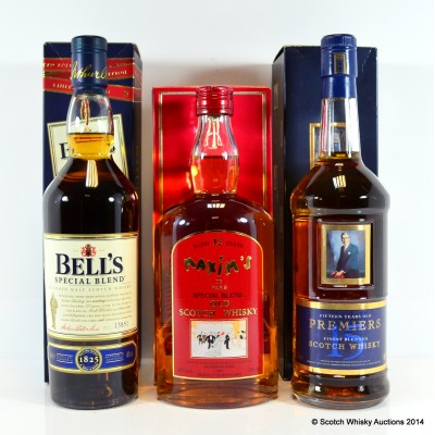 Bell's Special Blend Limited Edition, Premiers Finest Blended 15 Year Old & Maxim's Special Blend 12 Year Old