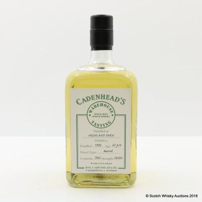 Highland Park 1992 25 Year Old Cadenhead's Warehouse Tasting