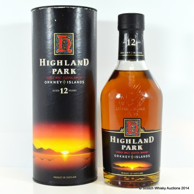 """Highland Park 12 Year Old Red """"H"""" Over Sunset label"""