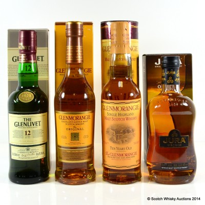 Glenmorangie Original 10 Year Old, Glenlivet 12 Year Old, Glenmorangie 10 Year Old & Jura Origin 10 Year Old 4 x 35cl