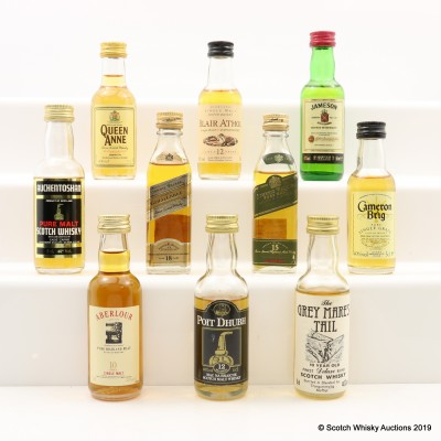 Assorted Minis 10 x 5cl Including Johnnie Walker 18 Year Old Gold Label