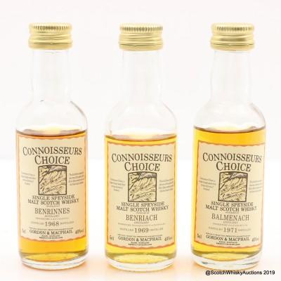 Benrinnes 1968, Benriach 1969 & Balmenach 1971 Connoisseurs Choice Minis 3 x 5cl