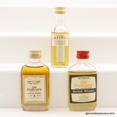 Old Pulteney 8 Year Old Gordon & MacPhail, Old Pulteney 8 Year Old 70° Proof & Imperial 1979 Gordon & MacPhail Minis 3 x 5cl