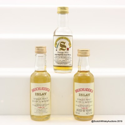 Bruichladdich 1970 18 Year Old Signatory, 10 Year Old & 75° Proof Minis x 3