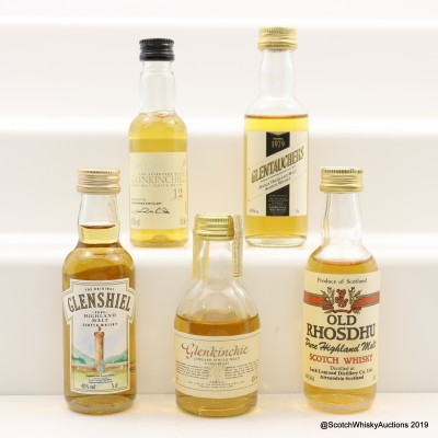 Assorted Minis 5 x 5cl Including Glenkinchie 12 Year Old
